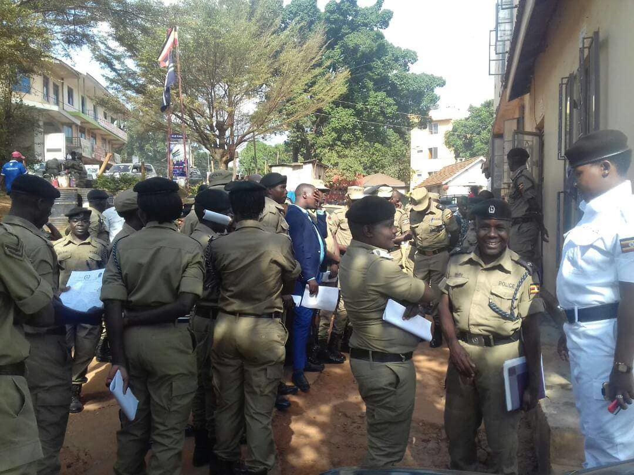 Uganda Police Force officers report to their respective stations for the nationwide headcount exercise (FILE PHOTO)