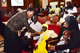 Ms Janet Museveni consoles MP Abiriga's family at Parliament on Sunday.