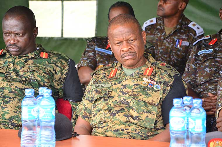 Major-Elwelu and Deputy Chief of Defence Forces, Lt. Gen. Wilson Mbadi in the retirement batch 8A, Wednesday in Jinja