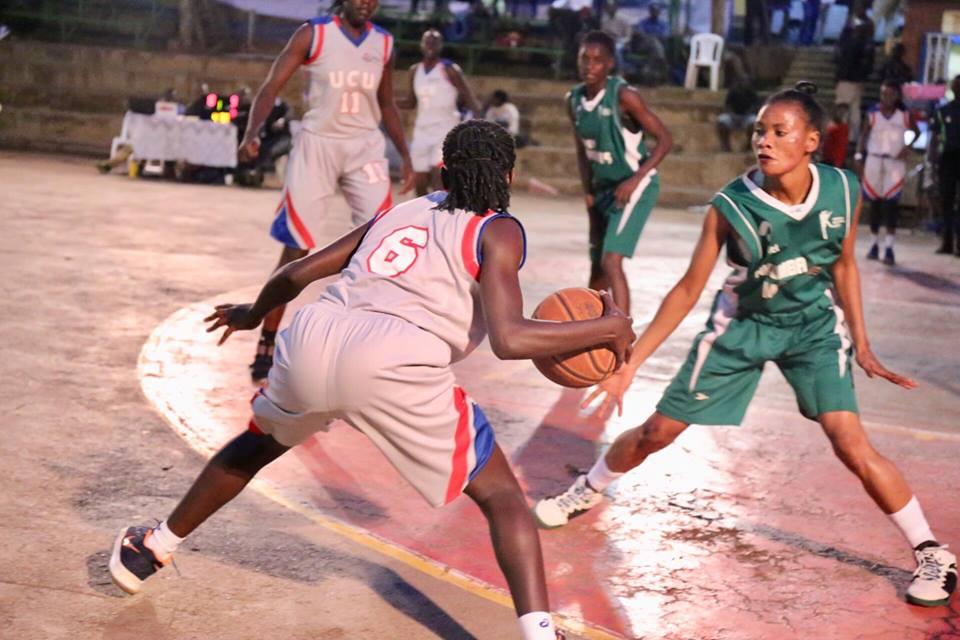 UCU's Rosine Micomyiza (5) dribbles the ball against Nkumba on Wednesday night (Photo by FUBA Media)