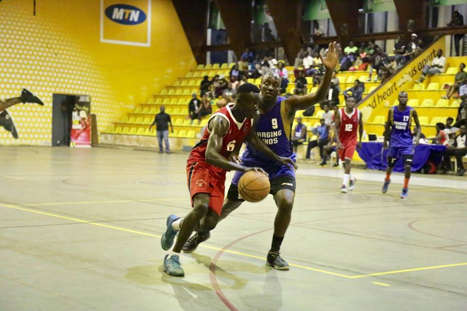 Ndejje University (In Red) defeated Charging Rhinos in their last game (Photo by FUBA Media)