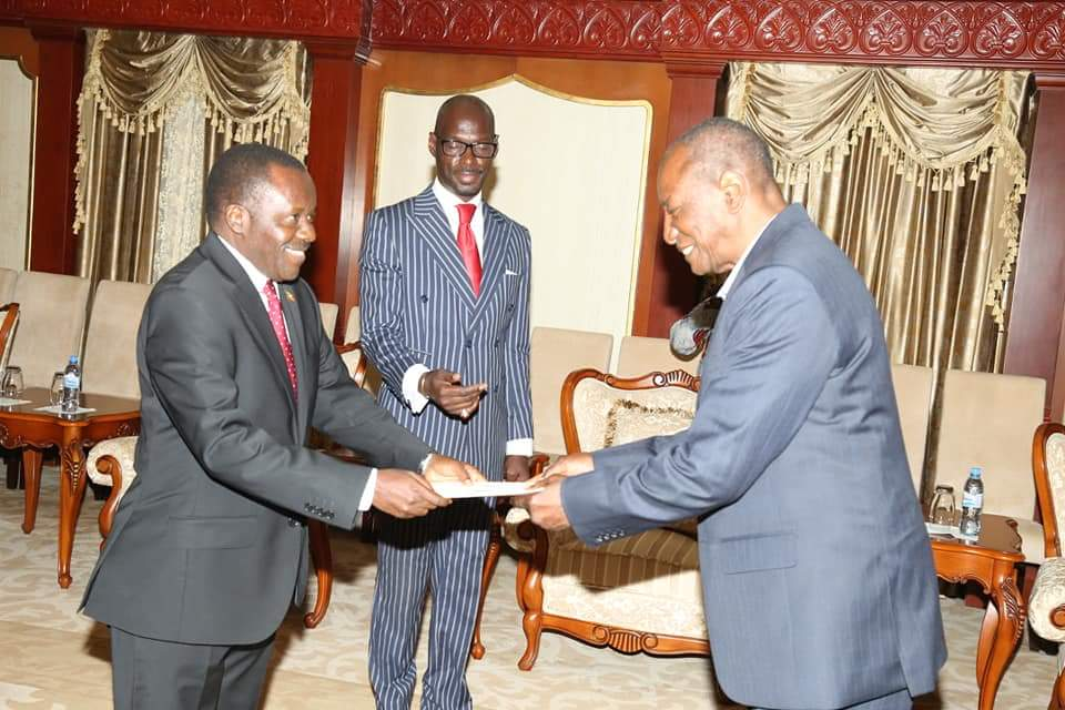 President of the Republic of Guinea, Prof. Alpha Conde receives the credentials of Amb. Nelson Ocheger as Uganda's Ambassador to Guinea at a meeting held in Nigeria's capital, Abuja