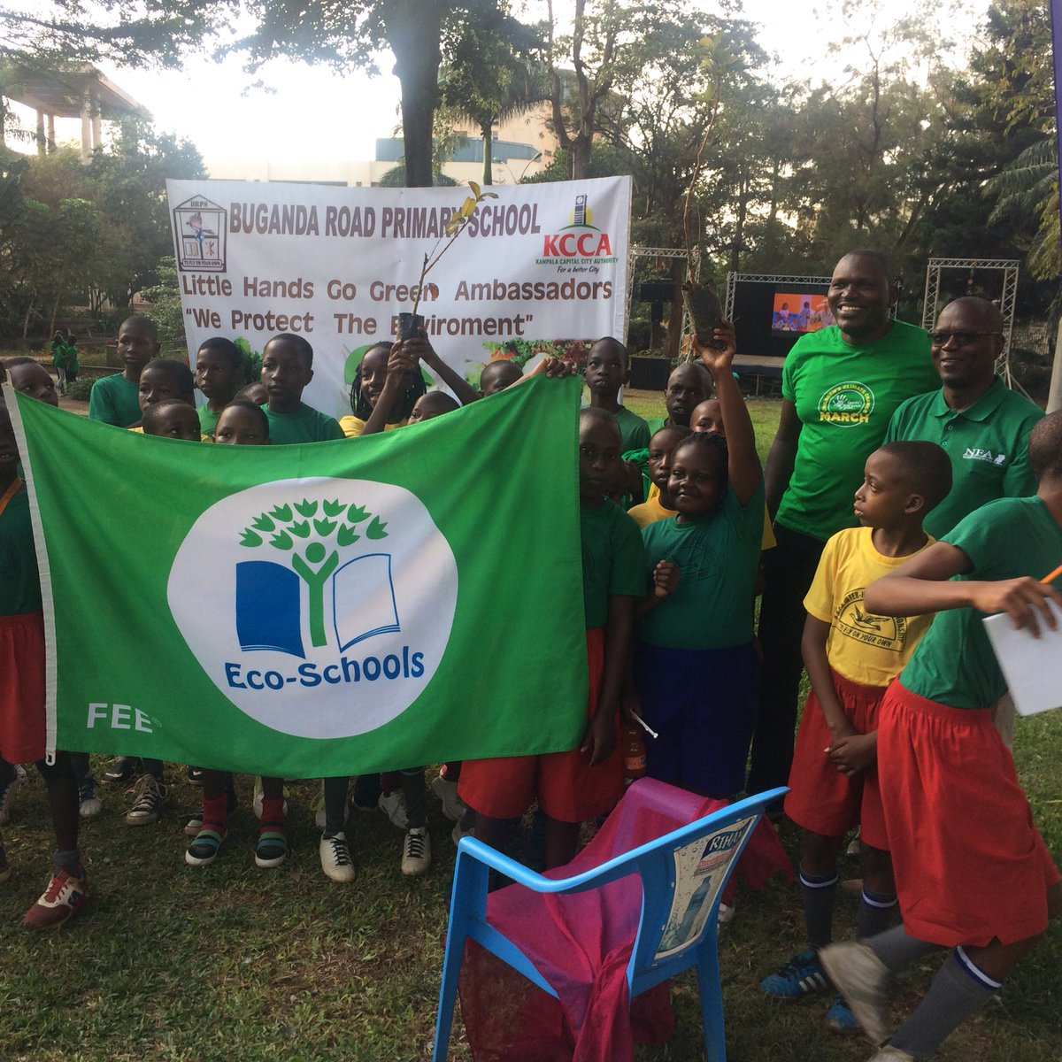 Pupils of Buganda Road Primary School flagged off in the ClimateWalk organised by Little Hands Go Green to create awareness on climate change and mitigation measures (PML Daily Photo)