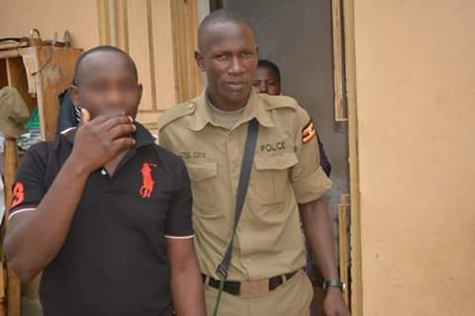 The suspect being paraded before the press at Mukono Police stations