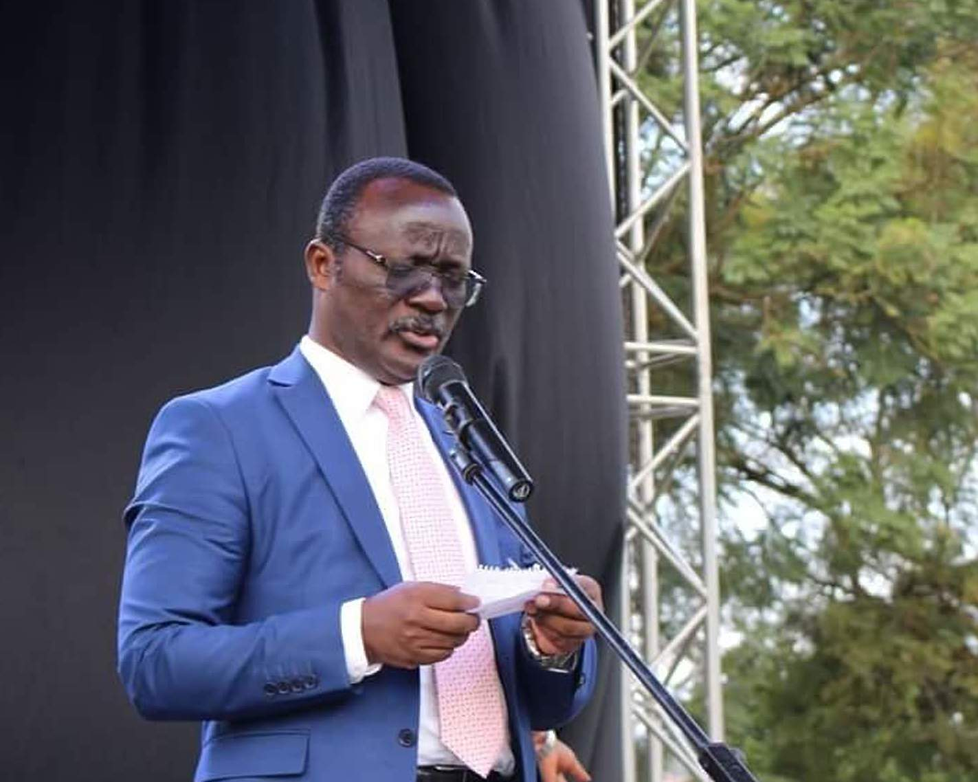 NWSC Managing Director, Dr. Mugisha Silver speaking at a function recently. NWSC has unveiled hi-tech systems to
