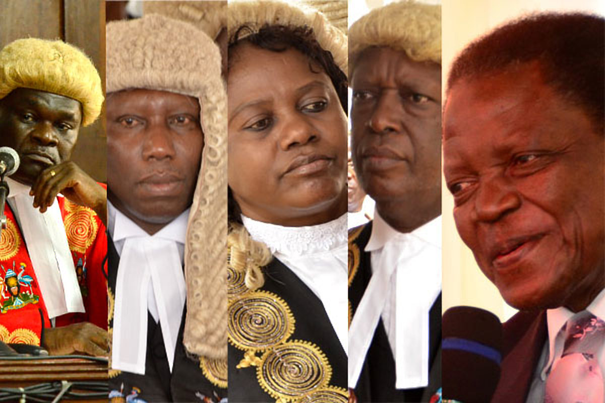Left - Right: Deputy Chief Justice. Alfonse Owiny-Dollo, Justice Cheborion Barishaki, Justice Elizabeth Musoke, Justice Kenneth Kakuru and Justice Remmy Kasule read their age limit petition rulings Thursday July 27 at Mbale High Court (FILE PHOTO)