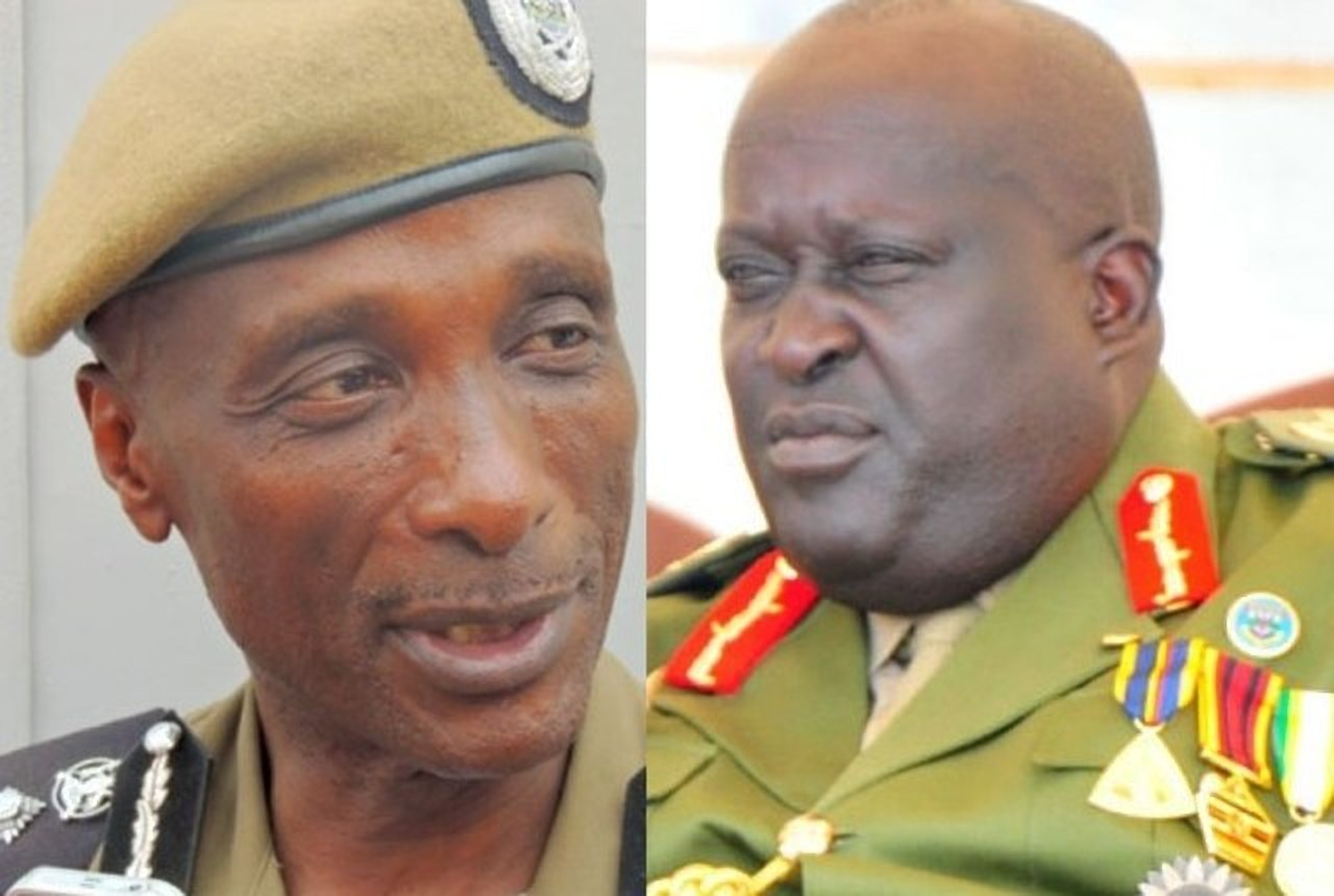 General Court Martial Chairman, Gen. Gutti (R) and his team resume their duties following the renewal of his tenure by President Museveni ahead of the trial of embattled ex-IGP Gen Kale Kayihura (L) (FILE PHOTO)