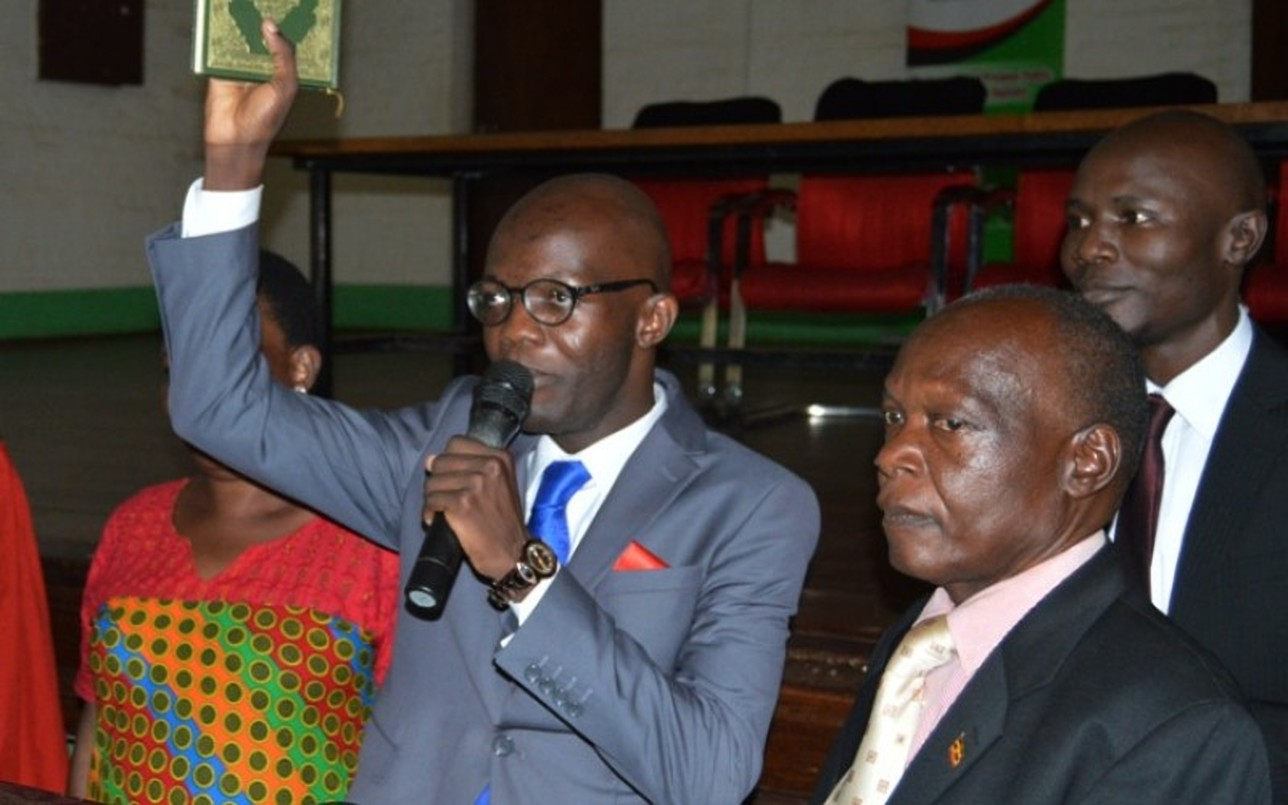 Papa Were Salim being sworn in as the 84th Guild President of Makerere University March 22, 2018. Papa Were and Isaac Kwagala, the Guild Speaker are accused of  acting against their will and failure to understand matters directly affecting students (FILE PHOTO)