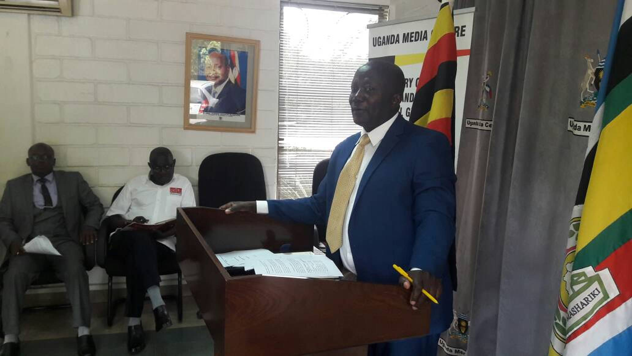 State Minister for Cooperatives, Mr Fredrick Gume addressed the press at the Media Center recently (FILE PHOTO)