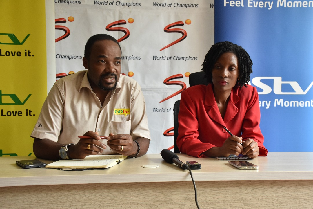 GOtv Marketing manager, Albert Nga (left) and Multi Choice Retention Manager Sauya Nakiyaga (right) speaking to the media on Wednesday (Photo by Racheal Tebandeke)