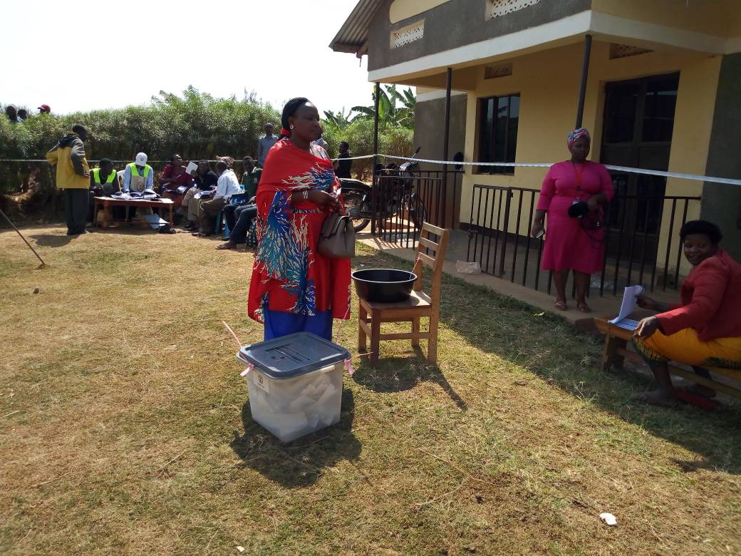 Ms. Virginia Plan Mugyenyi, FDC candidate in the Sheema Municipality parliamentary elections cast her vote July 27. The victor, Dr. Elioda Tumwesigye admitted the intense competition poised by his running mate, Ms Virginia (FILE PHOTO)