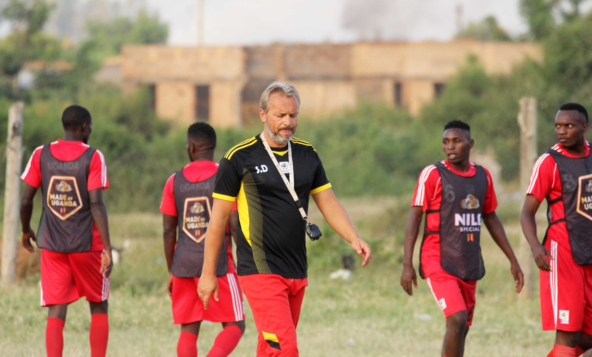 Sebastian Desabre during a training session with the Cranes in Kasese (Photo by FUFA Meedia)