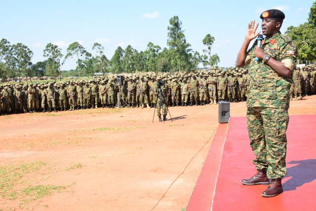 The Chief of Defence Forces UPDF, Gen. David Muhoozi cautions the  Battle Group 25 and United Nations Guard Unit at the Peace Support Operations Training Centre in Singo, Nakaseke District