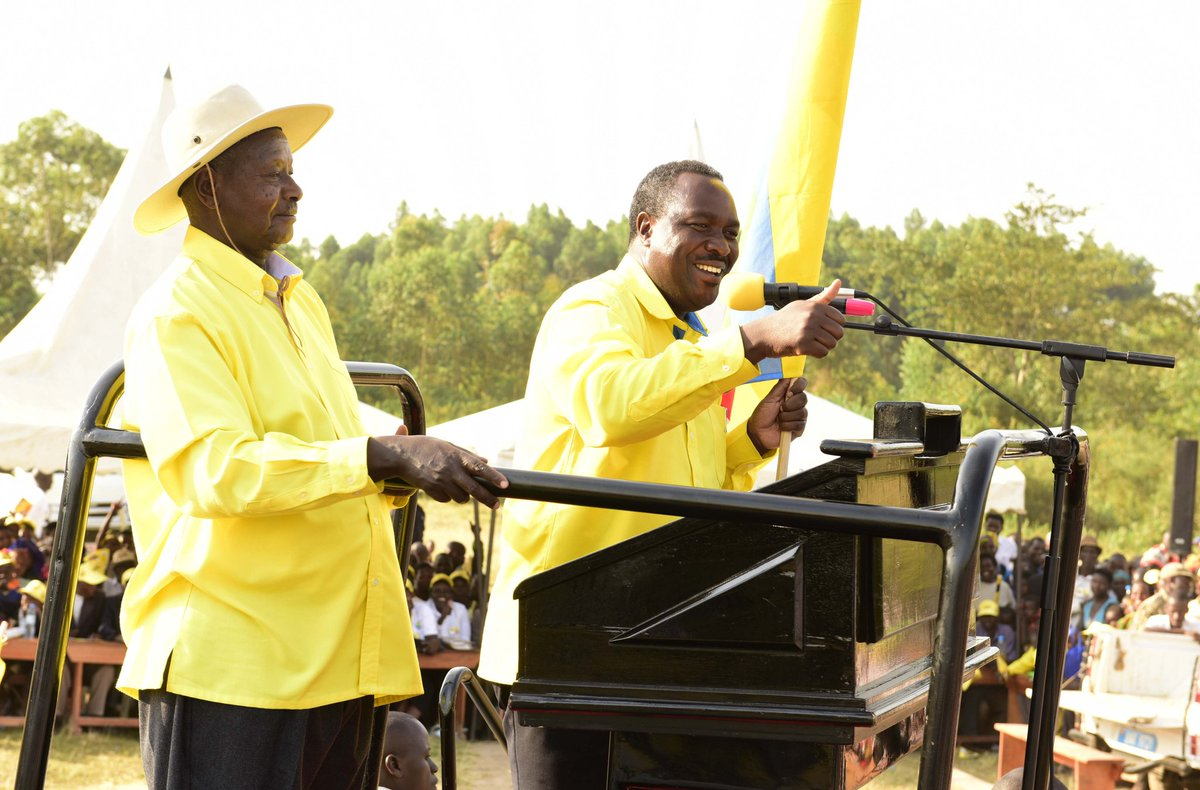 President Museveni joins Elioda Tumwesigye, the NRM party flag bearer in the hotly contested Sheema Municipality MP campaigns Thursday 19th July (PPU Photo)