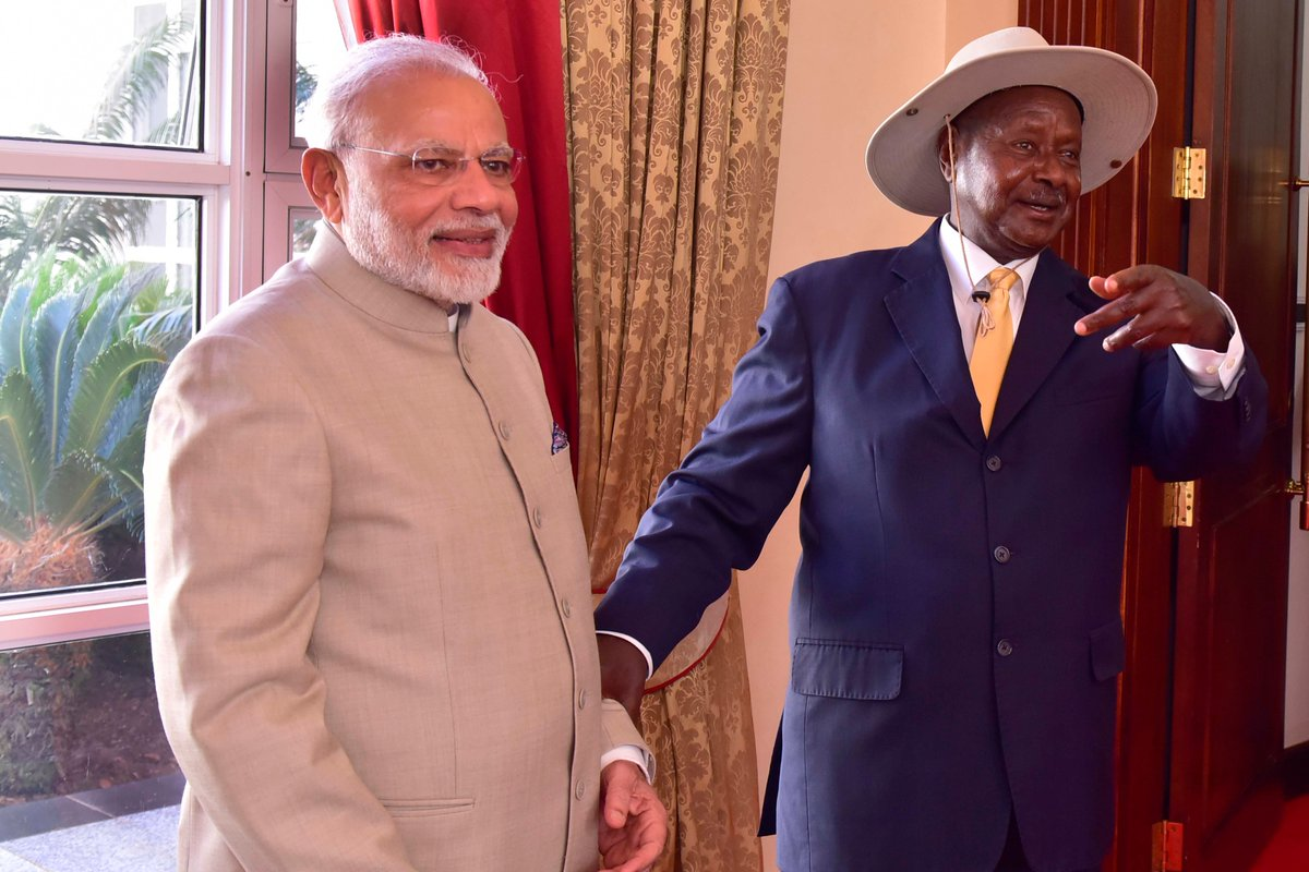 President Museveni welcomes Indian Prime Minister Narendra Modi. Indian Premier extended investment loans to Uganda (FILE PHOTO)