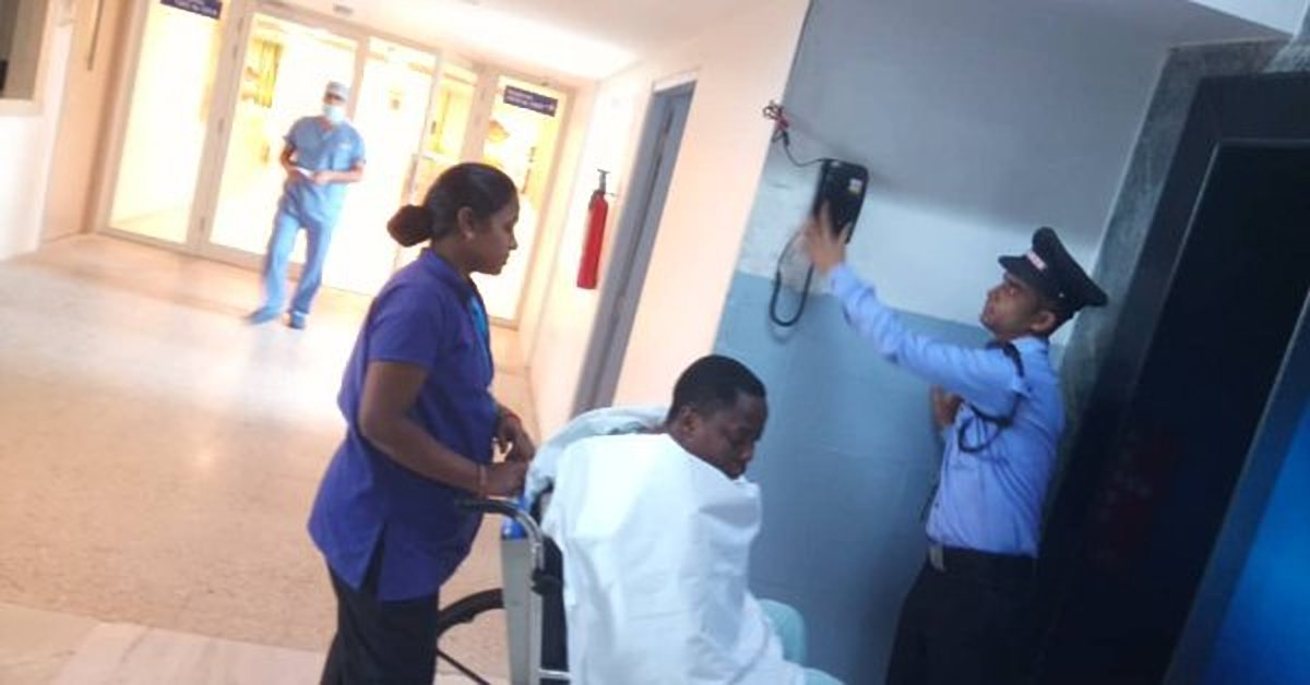 The Mukono Municipality MP Betty Nambooze is moved in the hospital in Bangalore, India ahead of the scheduled knee surgery today Tuesday July 24. (PML Photo)