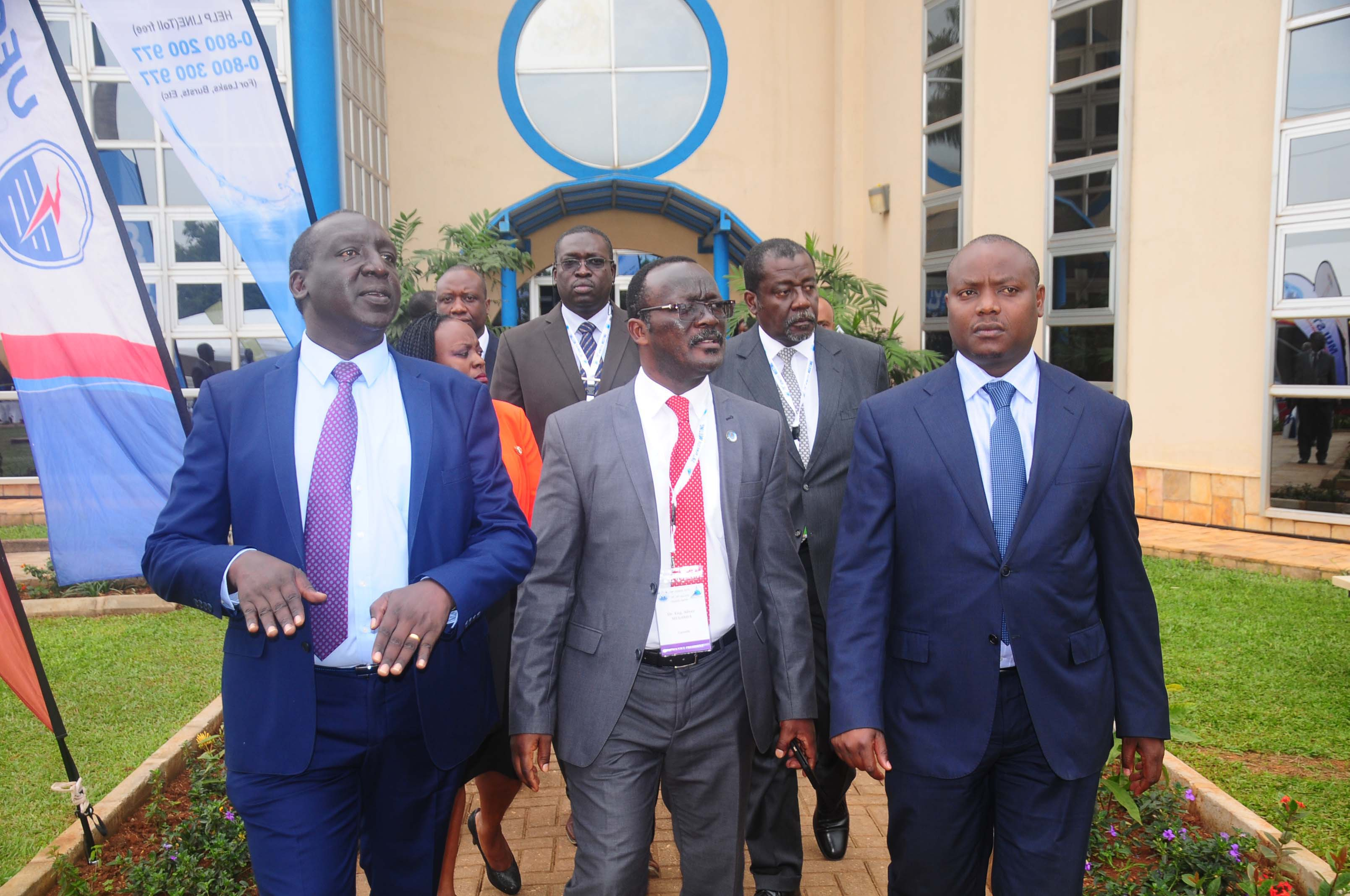 Dr. Chris Ebal the NWSC Board Chair, Eng. Silver Mugisha., MD NWSC and State Minister for Water, Ronald Kibule the opening ceremony for the 79th AfWA meeting at the NWSC International Resource Training Center in Bugolobi July 17 (FILE PHOTO)