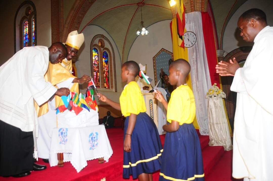Archbishop Gabriel Mbilingi of Lubango, Angola and President of SECAM launching the celebrations at Lubaga Cathedral, Kampala on Sunday (PML Daily PHOTO)