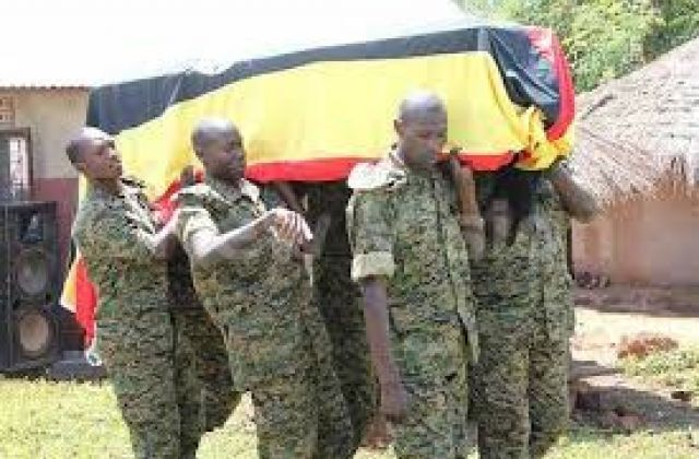 UPDF soldiers carry a casket of their colleague  Corporal Johnson Bright who was shot dead by a policeman in Kasese. (COURTESY PHOTO)
