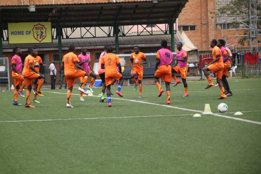 KCCA FC players undertaking training recently