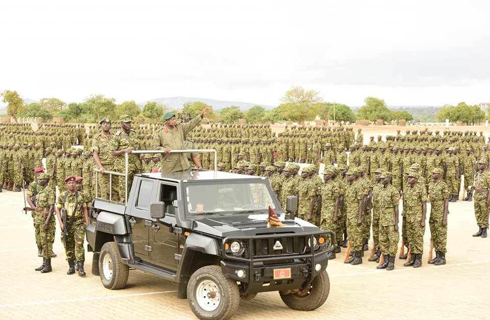 President Museveni inspects a guard-of-honour at the UPDF pass-out ceremony in Nakaseke (PPU PHOTO)