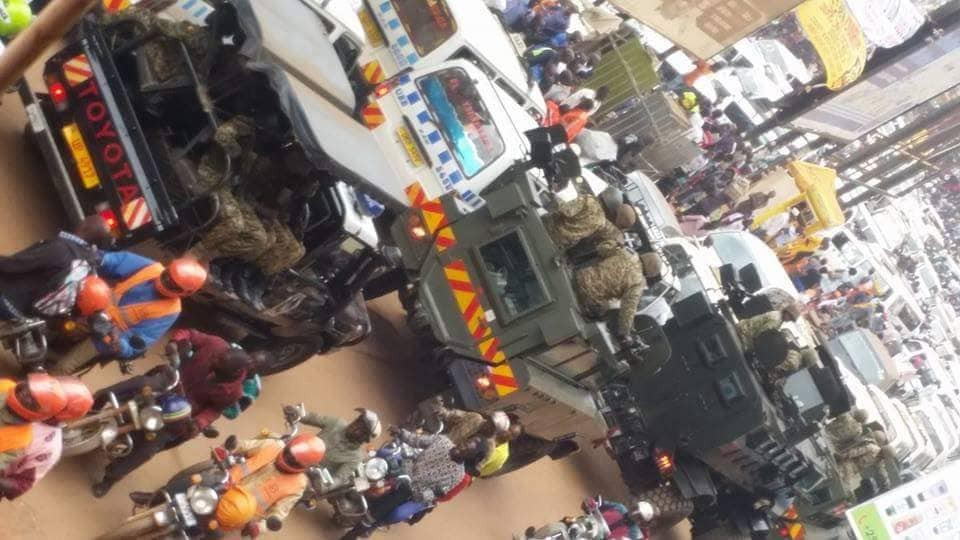 Heavy military deployment vividly seen in the city as tension took shape in Kisekka Market as youths protested Bobi Wine's torture and denial to fly for treatment (PML Daily PHOTO)
