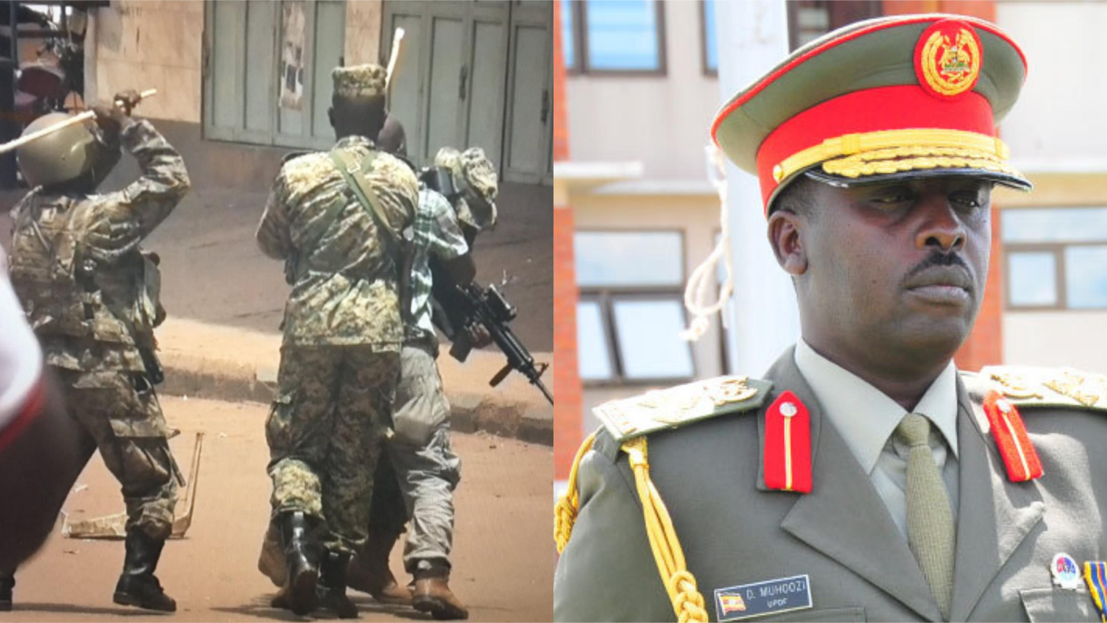 CDF Muhoozi David has ordered the immediate arrest of security officers involved in the brutal clobber of journalists and protesters in the August 20 Bobi Wine protests that had Kampala city on lockdown (FILE PHOTO)