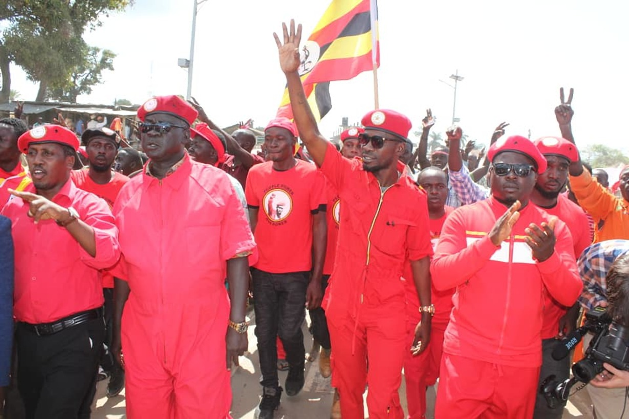 Kyadondo East MP Robert Kyagulanyi is joined by other leaders in compaigns. Government has slapped treason charges on the youthful MP August 16(PML Daily PHOTO)