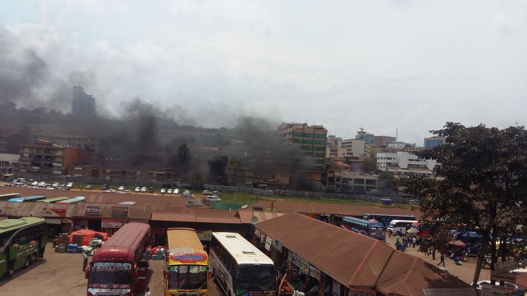 A view of smoke emerging from the protect-struck areas in Kampala as the lockdown on the city takes a new twist (PML Daily PHOTO)