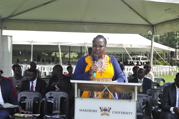 Dr. Euzobia Mugisha Baine, the Director of Makerere University Gender and Mainstreaming asked students to resist sexual bother. (PHOTO/Javira Ssebwami)