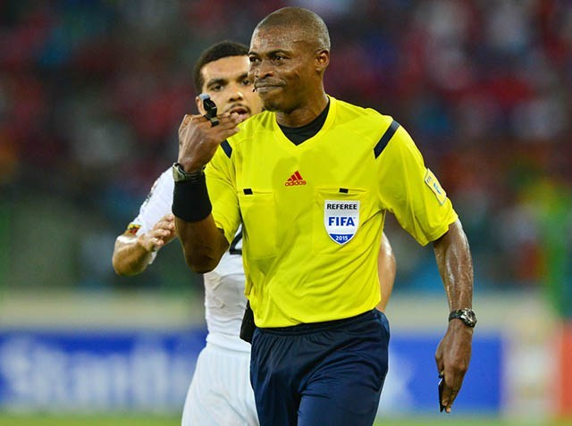 Referee Eric Otogo during the 2015 Africa Cup of Nations semifinal football match between Ghana and Equatorial Guinea at the Malabo Stadium.