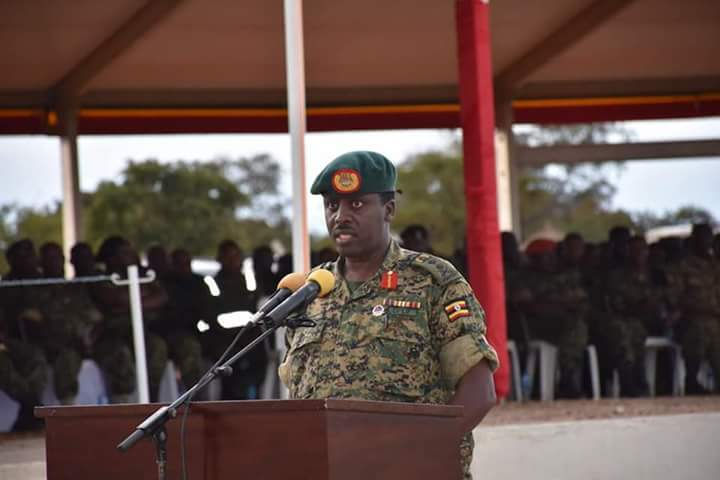 The CDF UPDF Gen David Muhoozi shares an insight at a the pass-out ceremony August 23 (PML Daily PHOTO)