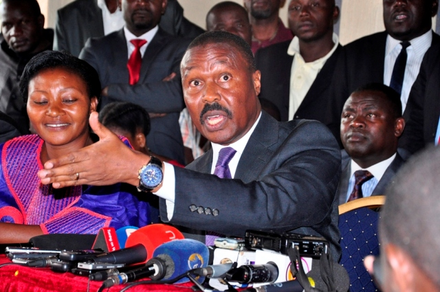Gen Mugisha Muntu addressing a press conference at  Hotel Africana recently. He has come out to confirm the exit from FDC though decried that it was a premature announcement (FILE PHOTO)