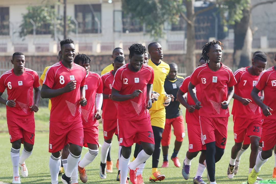 The Cranes in training on Thursday at the StarTimes Stadium (Photo by Recheal Tebandeke)