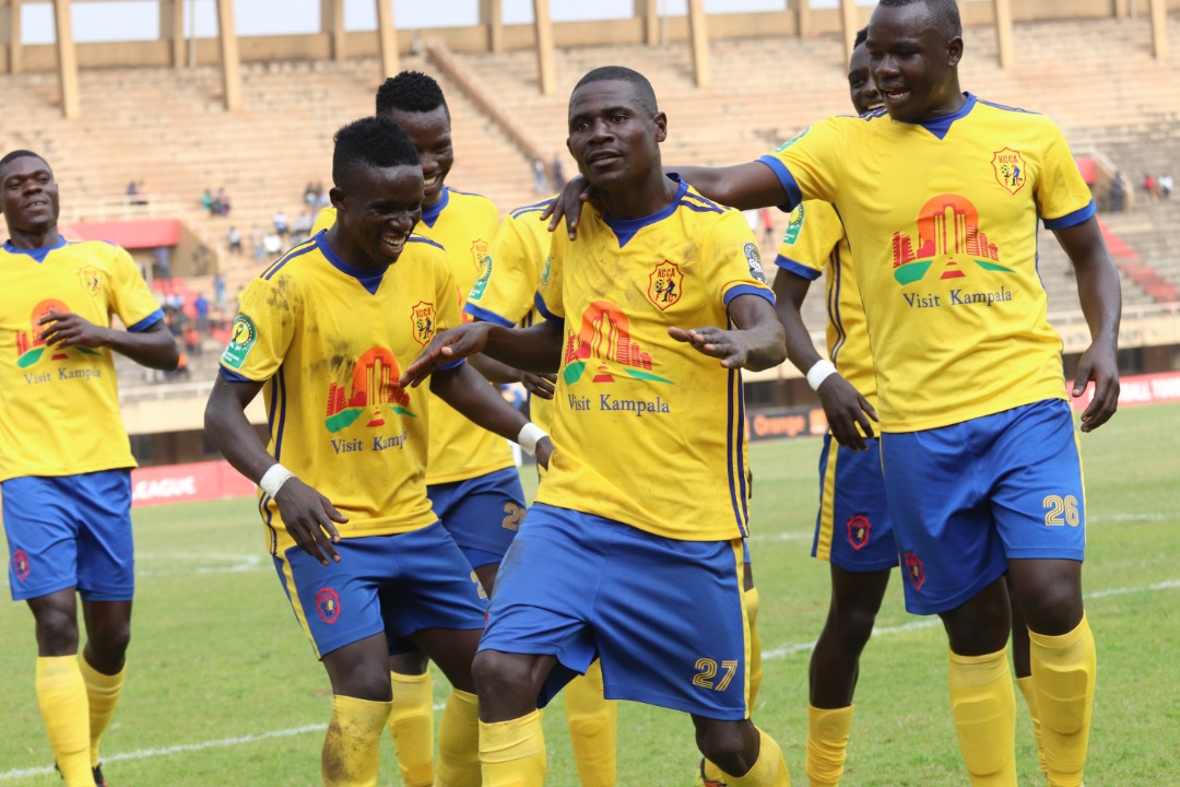 KCCA players celebrating in their 1-0 win over Township Rollers earlier this month (file photo)