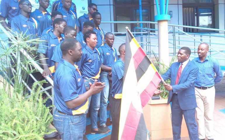 The U19 Cricket Cranes being flagged off on Tuesday afternoon in Lugogo (photo by agency)