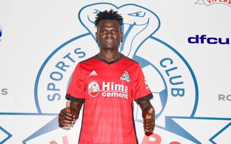 Noah Wafula posses in a Vipers' jersey after signing for the club on Tuesday evening (photo by Vipers media)