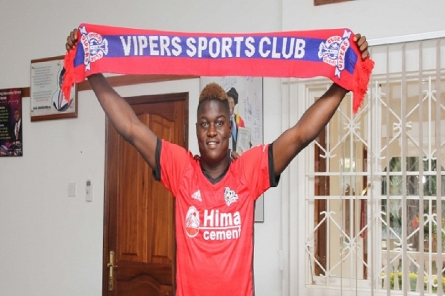 Mutombora after signing for Vipers SC (photo by Vipers Medai)