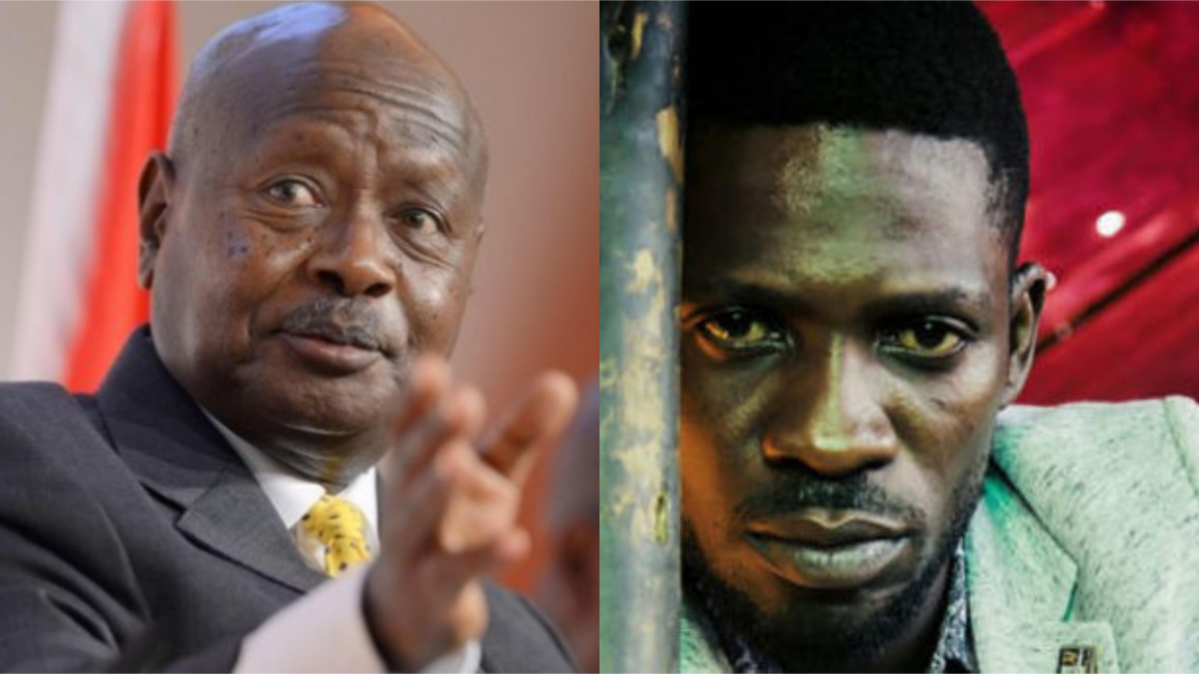 President Museveni has defended SFC revealing that Kyaddondo East legislator Robert Kyagulanyi a.k.a Bobi Wine, Kassiano Wadri and other suspected responded with blows in attempt to resist arrest (FILE PHOTO).