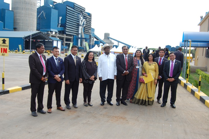 President Museveni joins the Mr Narendra Raval, the chairman of Simba Cement Company and other official at the commission of the cement factory in Tororo (PML Daily PHOTO)