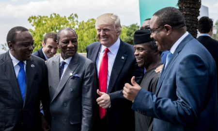 President Trump with Kenya President Uhuru Kenyatta and the presidents of Niger and Nigeria, at the G7 meeting on Sicily island, Italy, on May 27, 2017. Photo: Michael Kappeler/via Getty Images