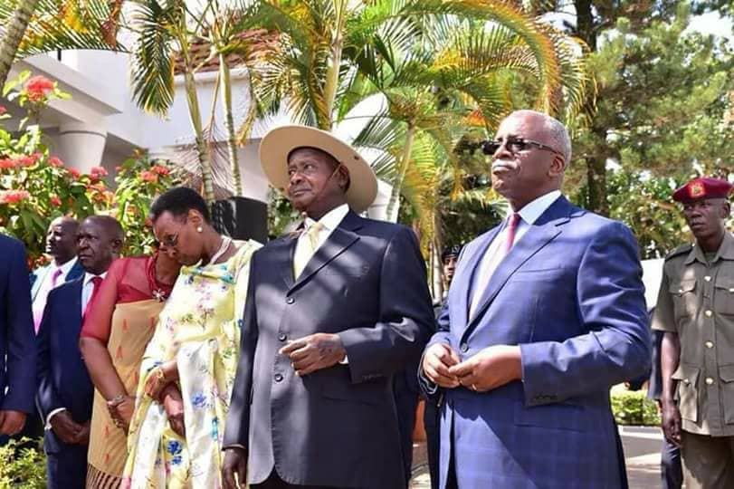 President Museveni and First Lady Janet are received by the host of the day, ex-PM Amama Mbabazi recently (PHOTO/File).