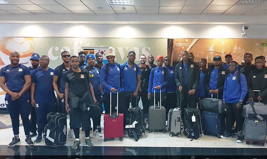 The Township Rollers delegation arriving at Entebbe Airport on Thursday (Photo by Agency)