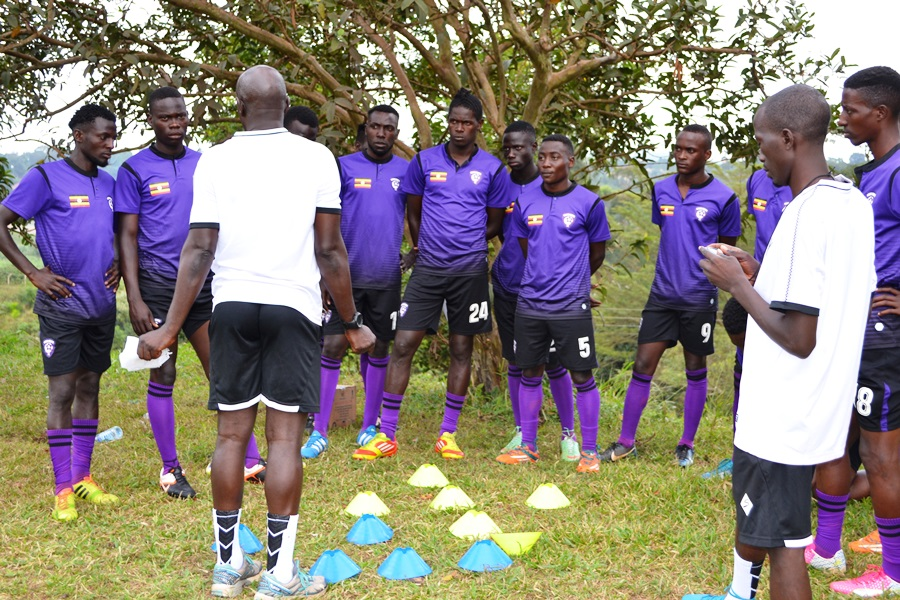 Wakiso Giants players and some of their coaching staff training at IUIU in Kabojja recently