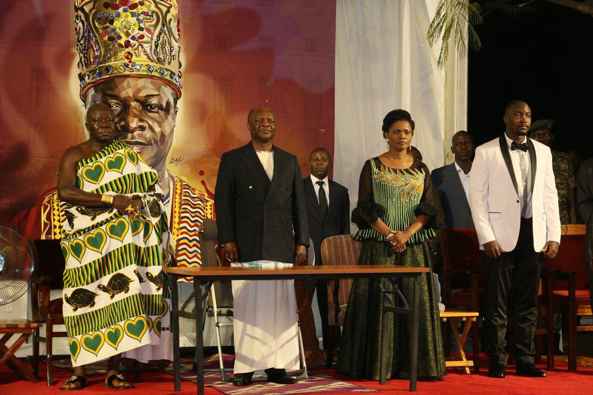 Ssabasajja Kabaka Ronald M Mutebi II and the Nabagereka Sylvia Nagginda are joined by the Asantehene Otumfuo Nana Osei Tutu II of the Asante Kingdom (Ghana) at the 25th Coronation Anniversary (PML Daily PHOTO)
