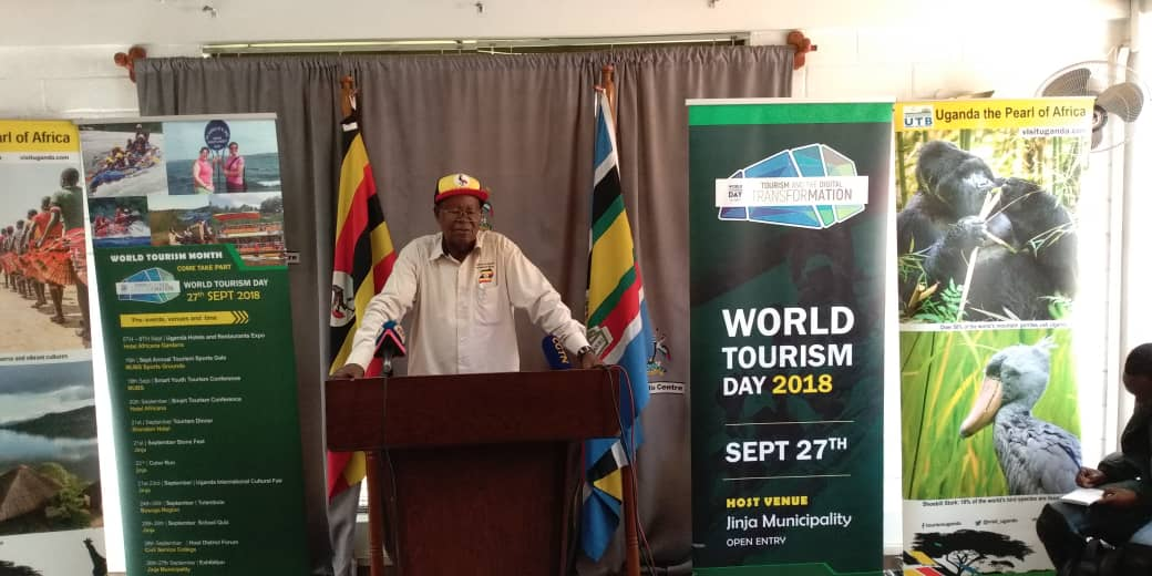 Minister of Tourism, Prof. Ephraim Kamuntu has on August 30 launched World Tourism Day celebrations in a media brief at Uganda Media Centre to be held in Jinja, with different activities starting from Kampala (PML Daily PHOTO)