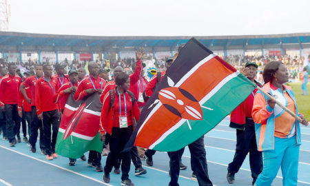 The Kenyan contingent marches during the opening of African Athletics Championship at the Stephen Keshi Stadium in Asaba