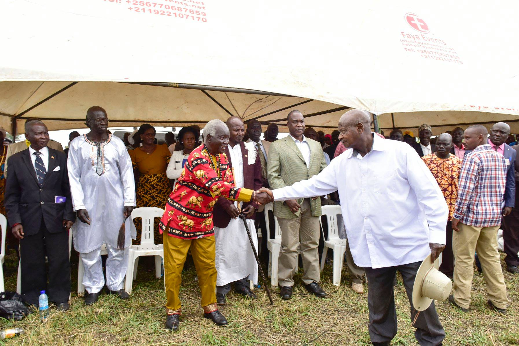 President Museveni greets the Acholi and Langi leaders in an engagement on Apaa land matters (PPU Photo)