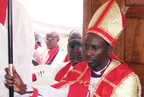 The bishop of Ankole diocese Rt Rev Dr Sheldon Mwesigwa