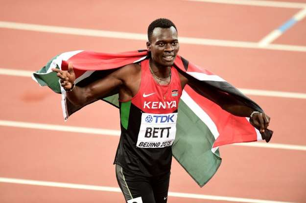 Bett celebrates after winning Gold at the 2015 World Championships in China